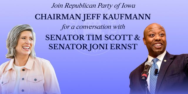 An invitation from the Republican Party of Iowa for an event with Sens. Tim Scott and Joni Ernst in Davenport, Iowa on April 15, 2021