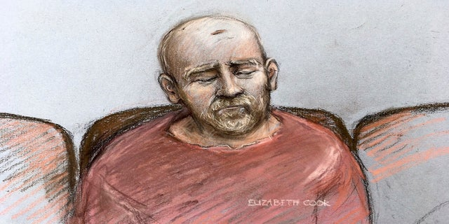 Wayne Couzens, in this sketch, makes his first appearance at the Old Bailey court by video link from Belmarsh top security jail in south London on Tuesday. (Elizabeth Cook/PA/AP)