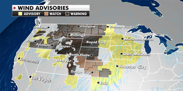 Wind advisories currently in effect. (Fox News)