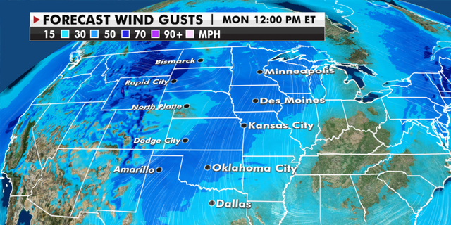 Expected strength of wind gusts around the U.S. (Fox News)