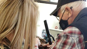 Elderly man goes to beauty school to learn to do his wife's makeup