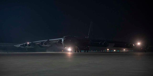 A B-52H Stratofortress assigned to the 5th Bomb Wing, Minot Air Force Base, North Dakota, arrives April 26, 2021, at Al Udeid Air Base, Qatar. Two B-52 aircraft arrived April 26, joining the additional B-52 bombers that arrived April 23. The bombers are deployed to protect U.S. and coalition forces as they conduct drawdown operations from Afghanistan. U.S. Central Command is committed to providing the necessary force protection to ensure the drawdown is conducted in a safe and orderly manner.