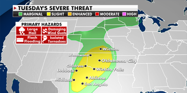 The risk of severe weather on Tuesday. (Fox News)