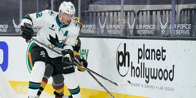 San Jose Sharks center Patrick Marleau (12) plays against the Vegas Golden Knights during the first period of an NHL hockey game Monday, April 19, 2021, in Las Vegas. (AP Photo/John Locher)
