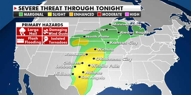 The threat of severe weather for Tuesday. (Fox News)