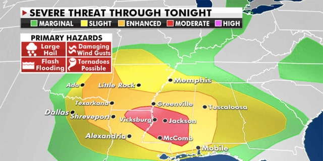Severe threats through Friday night (Credit: Fox News)