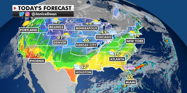 The national forecast for Tuesday, April 20. (Fox News)