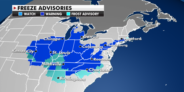 Freeze advisories in effect Thursday. (Fox News)