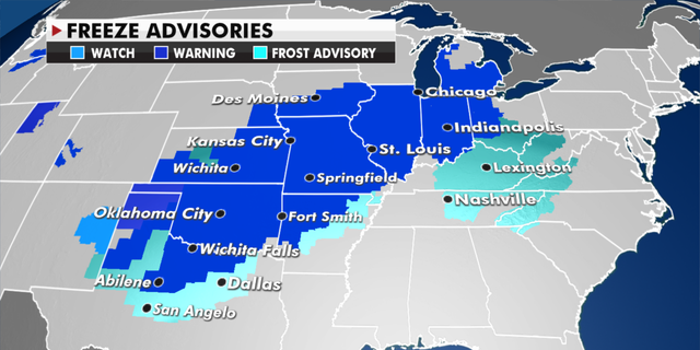 Current freeze advisories in effect. (Fox News)