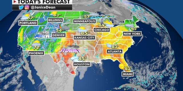 The national forecast for Tuesday, April 27. (Fox News)