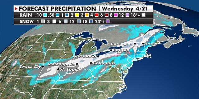Expected precipitation totals through Wednesday. (Fox News)