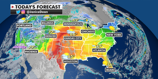 The national weather forecast for Monday, April 26. (Fox News)