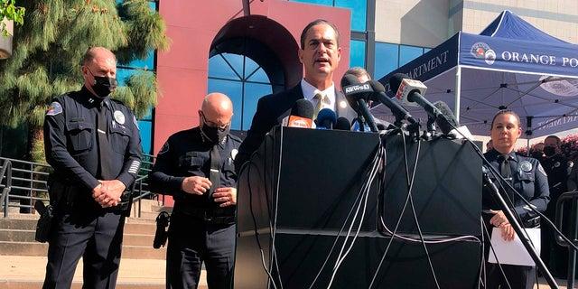 Orange County District Attorney Todd Spitzer talks during a Thursday news conference at the Orange Police Department headquarters in Orange, Calif. (AP Photo/Stefanie Dazio)