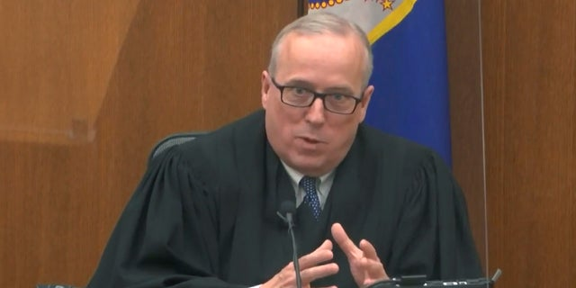 In this image from video, Hennepin County Judge Peter Cahill discusses motions before the court Monday, April 12, 2021, in the trial of former Minneapolis police Officer Derek Chauvin at the Hennepin County Courthouse in Minneapolis. Chauvin is charged in the May 25, 2020 death of George Floyd. (Court TV via AP, Pool)