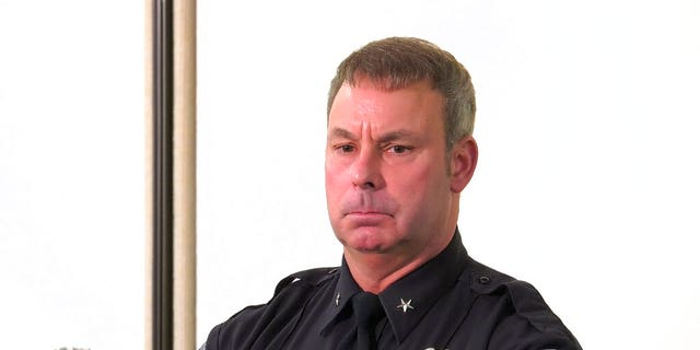 Brooklyn Center, Min., Police Chief Tim Gannon talks to the media on Monday, April 12, 2021.