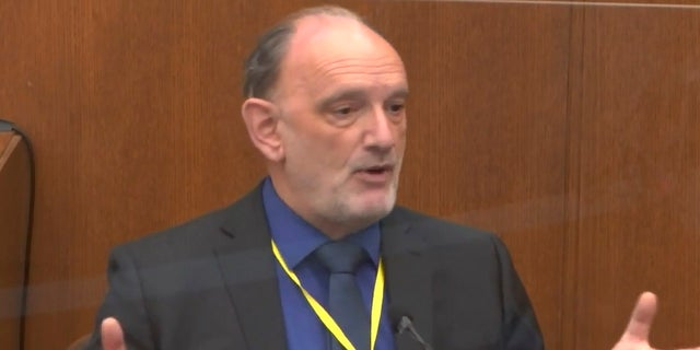 In this image from video, Dr. David Fowler testifies as Hennepin County Judge PeterCahill presides, Wednesday, April 14, 2021, in the trial of former Minneapolis police Officer Derek Chauvin at the Hennepin County Courthouse in Minneapolis, Minn. Chauvin is charged in the May 25, 2020 death of George Floyd.