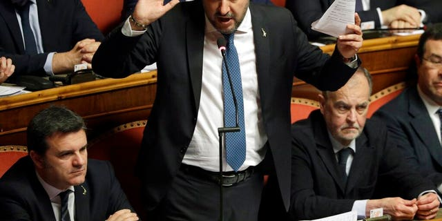 In this Feb. 12, 2020 file photo, then opposition leader Matteo Salvini speaks at the end of the debate at the Italian Senate on whether to allow him to be prosecuted. (AP Photo/Andrew Medichini, file)