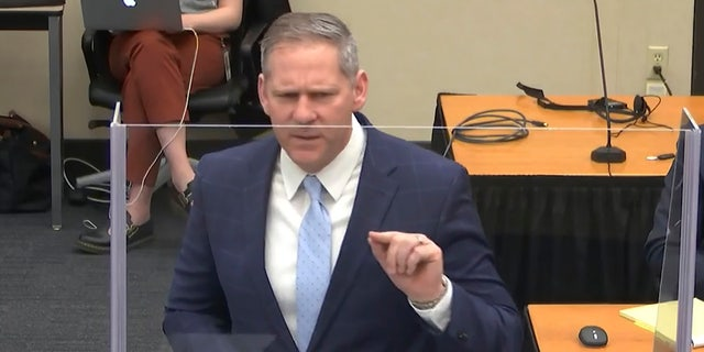 In this image from video, prosecutor Steve Schleicher gives closing arguments as Hennepin County Judge PeterCahill presides Monday, April 19, 2021, in the trial of former Minneapolis police Officer Derek Chauvin. (Court TV via AP, Pool)