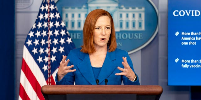 White House press secretary Jen Psaki speaks during a press briefing at the White House in Washington, Monday, April 19, 2021. (AP Photo/Andrew Harnik)