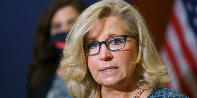 Rep. Liz Cheney, R-Wyo., the House Republican Conference chair, speaks with reporters following a GOP strategy session on Capitol Hill in Washington, Tuesday, April 20, 2021. Cheney's tenure as the No. 3 in the House is expected to expire as soon as May 12, 2021. (AP Photo/J. Scott Applewhite)