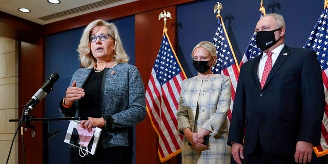 Rep. Liz Cheney, R-Wyo., the House Republican Conference chair, is joined at right by Rep. Victoria Spartz, R-Ind., and Rep. Steve Scalise, R-La., the House minority whip, as they speak with reporters following a GOP strategy session on Capitol Hill in Washington, Tuesday, April 20, 2021. (AP Photo/J. Scott Applewhite)
