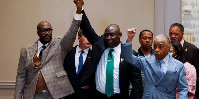 Philonise Floyd, Attorney Ben Crump and the Rev, Al Sharpton, from left, react after a guilty verdict was announced at the trial of former Minneapolis police Officer Derek Chauvin for the 2020 death of George Floyd, Tuesday, April 20, 2021. (AP Photo/Julio Cortez)