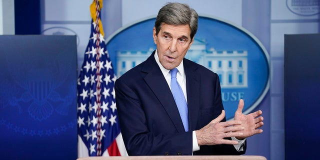 In this Jan. 27, 2021 file photo, Special Presidential Envoy for Climate John Kerry speaks during a press briefing at the White House in Washington. (AP Photo/Evan Vucci)