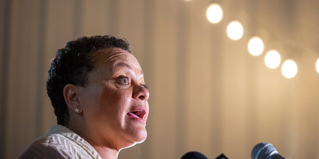 Karen Carter Peterson concedes the election for Louisiana's Second Congressional District Saturday, April 24, 2021 at Central City BBQ in New Orleans. (Associated Press)