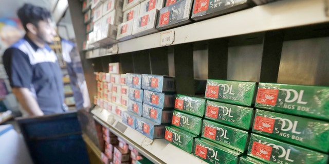 This May 17, 2018 file photo shows packs of menthol cigarettes and other tobacco products at a store in San Francisco. (AP Photo/Jeff Chiu, File)