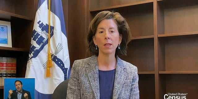 In this image from video provided by the U.S. Census Bureau, Commerce Secretary Gina Raimondo speaks during a virtual news conference Monday, April 26. The Census Bureau is releasing the first data from its 2020 headcount. (U.S. Census Bureau via AP)