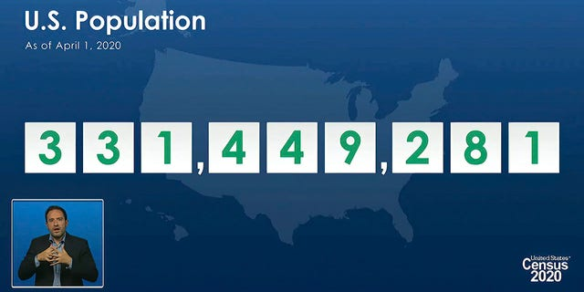 Acting director of the U.S. Census Bureau Ron Jarmin speaking as a graphic showing the U.S. population as of April 1, 2020, was displayed during a virtual news conference April 26, 2021. (U.S. Census Bureau via AP)