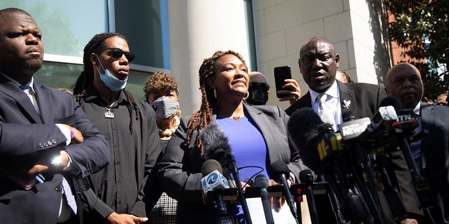Attorney Chantel Cherry-Lassiter speaks outside the Pasquotank County Public Safety building in Elizabeth City, N.C. Monday April 26, 2021 after viewing 20 seconds of police body camera video. (Travis Long/The News & Observer via AP)