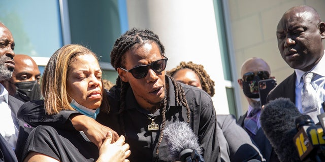 Andrew Brown Jr.'s son Khalil Ferebee, speaks outside the Pasquotank County Public Safety building in Elizabeth City, N.C. on Monday April 26, 2021. (Travis Long/The News & Observer via AP)