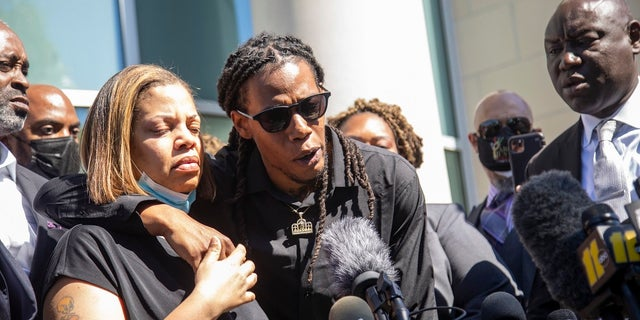 Andrew Brown Jr.'s son Khalil Ferebee, speaks outside the Pasquotank County Public Safety building in Elizabeth City, N.C. on Monday after viewing 20 seconds of police body camera video. (Travis Long/The News & Observer via AP)