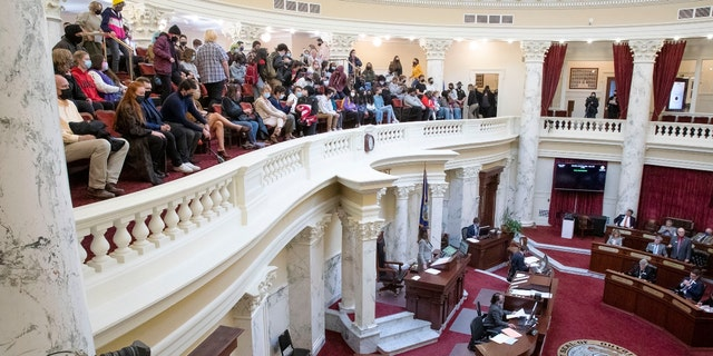 Idaho students fill the gallery as H377 is debated and passed by the Idaho Senate Monday, April 26, 2021 at the Idaho Statehouse in Boise. (Darin Oswald /Idaho Statesman via AP)