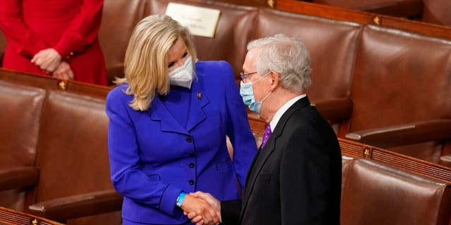 Rep. Liz Cheney, R-Wyo., greets Senate Minority Leader Mitch McConnell of Ky., before President Joe Biden speaks to a joint session of Congress Wednesday, April 28, 2021, in the House Chamber at the U.S. Capitol in Washington. (AP Photo/Andrew Harnik, Pool)