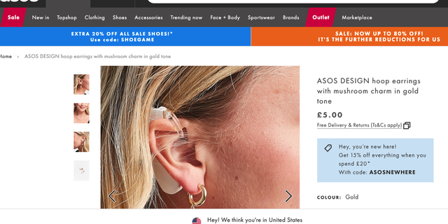 The gold hoop earrings with mushroom charm by ASOS.