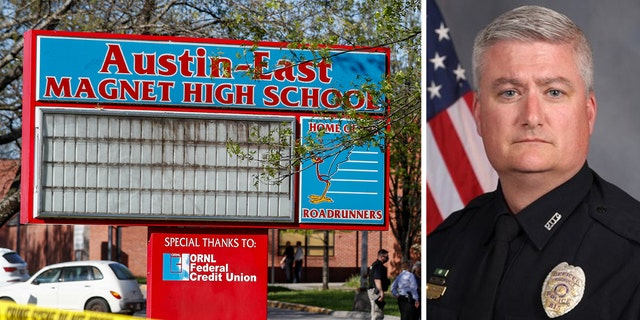 Austin-East High School and OfficerAdam Wilson.