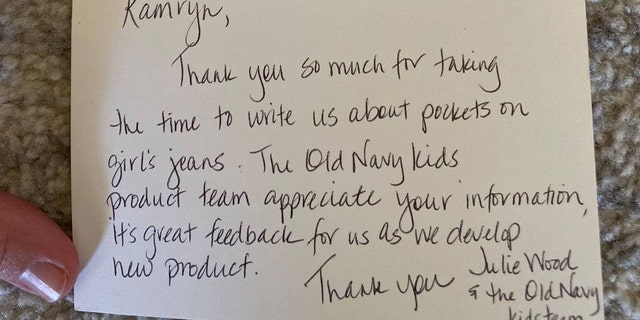Old Navy eventually responded to Gardner with a handwritten note and four pairs of girls' jeans with pockets.