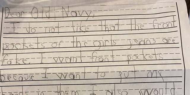 The letter was part of a persuasive writing assignment in her first grade class at Evening Star Elementary School.