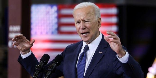 President Biden speaks about his $2 trillion infrastructure plan during an event to tout the plan at Carpenters Pittsburgh Training Center in Pittsburgh, Pennsylvania, March 31, 2021.