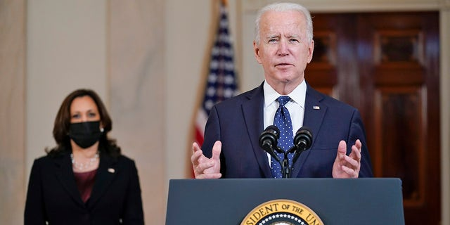 President Joe Biden, accompanied by Vice President Kamala Harris, speaks Tuesday, April 20, 2021, at the White House in Washington, after former Minneapolis police Officer Derek Chauvin was convicted of murder and manslaughter in the death of George Floyd. (Associated Press)