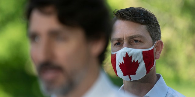 In this photo taken on June 19, 2020, Liberal Member of Parliament William Amos wears a Canadian flag mask as Prime Minister Justin Trudeau speaks during a news conference in Chelsea, Quebec. Amos, who has represented the Quebec district of Pontiac since 2015, appeared on the screens of his fellow lawmakers completely naked on Wednesday, April 14, 2021.