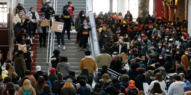 Students gather at the Ohio Union on the campus of Ohio State University on Wednesday to protest the shooting of Ma'Khia Bryant. (AP)