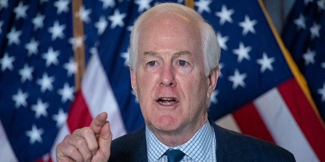 Senator John Cornyn (R-TX) during a Republican Senator press conference at the U.S. Capitol, in Washington, D.C., on Wednesday March 3, 2021.  (Graeme Sloan/Sipa USA)