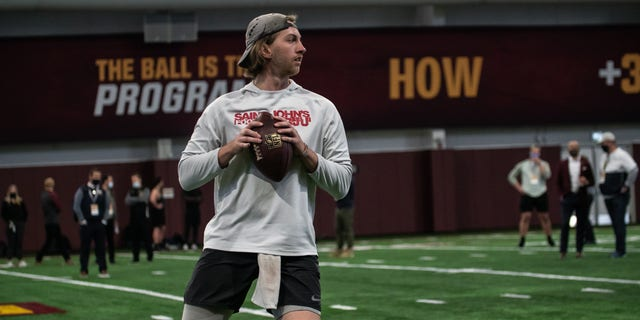 Former SJU quarterback Jackson Erdmann throws at Minnesota's Pro Day on Thursday, April 1, 2020.