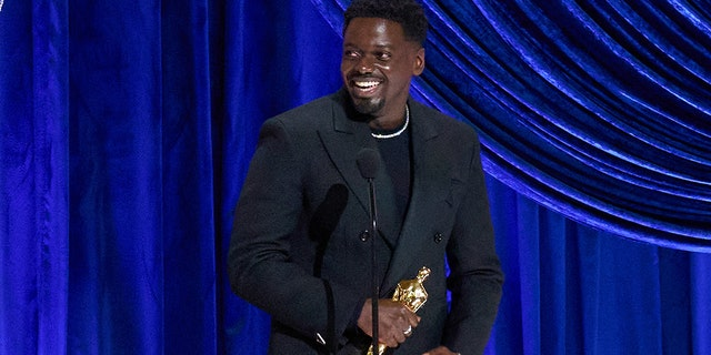 In this handout photo provided by A.M.P.A.S., Daniel Kaluuya accepts the Actor in a Supporting Role award for 'Judas and the Black Messiah' onstage during the 93rd Annual Academy Awards at Union Station on April 25, 2021, in Los Angeles, California. (Photo by Todd Wawrychuk/A.M.P.A.S. via Getty Images)