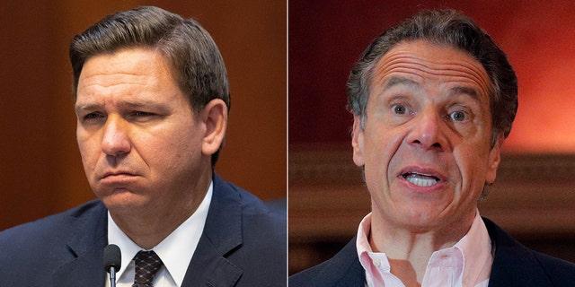 Florida Gov. Ron DeSantis, left, and New York Gov. Andrew Cuomo. (Reuters/Associated Press)