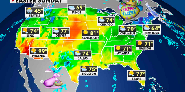 The weather forecast for Easter Sunday. (Fox News)
