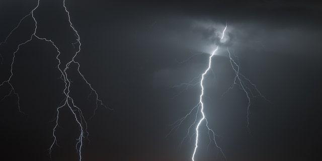 Photo of lightning over Howard Frankland Bridge in Tampa Florida.